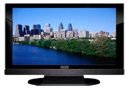 "52"" TV Prop LED HDTV Prop with Bottom Speaker in Gloss Black on Matte Black-BB Style Series with Philadelphia Screen"