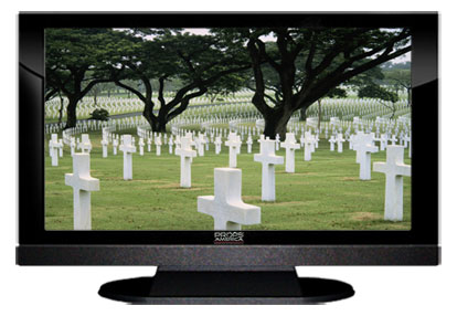 "22"" TV Prop LED HDTV Prop with Bottom Speaker in Gloss Black on Matte Black-BB Style Series with  Fallen Heroes Screen"