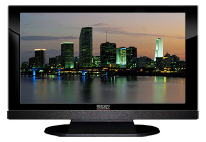 "52"" TV Prop LED HDTV Prop with Bottom Speaker in Gloss Black on Matte Black-BB Style Series with Miami at Dusk Screen"