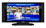 "32"" TV Prop HD TV Prop with Side Speakers in Gloss Black on Matte Black-SS Style Series with Evening News Screen"