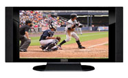"32"" TV Prop HD TV Prop with Side Speakers in Gloss Black on Matte Black-SS Style Series with Baseball Game 1 Screen"