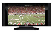 "32"" TV Prop HD TV Prop with Side Speakers in Gloss Black on Matte Black-SS Style Series with Football Game 2 Screen"
