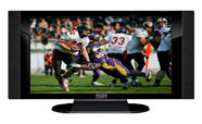"32"" TV Prop HD TV Prop with Side Speakers in Gloss Black on Matte Black-SS Style Series with Football Game 1 Screen"