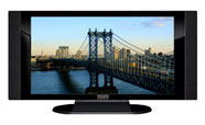 "32"" TV Prop HD TV Prop with Side Speakers in Gloss Black on Matte Black-SS Style Series with Manhattan Bridge Screen"