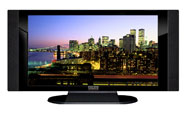 "32"" TV Prop HD TV Prop with Side Speakers in Gloss Black on Matte Black-SS Style Series with New York City at Night Screen"