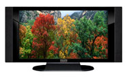 "32"" TV Prop HD TV Prop with Side Speakers in Gloss Black on Matte Black-SS Style Series with Autumn Trees Screen"