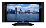 "32"" TV Prop HD TV Prop with Side Speakers in Gloss Black on Matte Black-SS Style Series with Chesapeake Bay Screen"