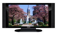 "32"" TV Prop HD TV Prop with Side Speakers in Gloss Black on Matte Black-SS Style Series with Fountain in the Park Screen"