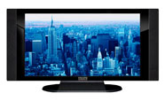 "32"" TV Prop HD TV Prop with Side Speakers in Gloss Black on Matte Black-SS Style Series with Blue Manhattan Screen"