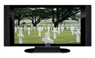"32"" TV Prop HD TV Prop with Side Speakers in Gloss Black on Matte Black-SS Style Series with Fallen Heroes Screen"