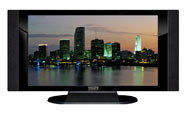 "32"" TV Prop HD TV Prop with Side Speakers in Gloss Black on Matte Black-SS Style Series with Miami at Dusk Screen"