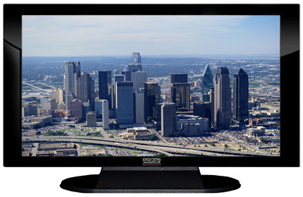 "52"" TV Prop Plasma-LED Flat Screen TV in Gloss Black on Matte Black-XX Style Series with Dallas Screen"
