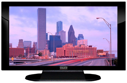 "52"" TV Prop Plasma-LED Flat Screen TV in Gloss Black on Matte Black-XX Style Series with Houston Screen"