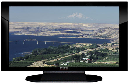 "52"" TV Prop Plasma-LED Flat Screen TV in Gloss Black on Matte Black-XX Style Series with Columbia River Screen"