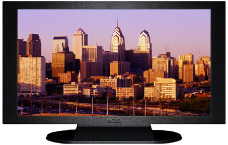 "47"" TV Prop Plasma-LED Flat Screen TV in Matte Black-XX Style Series with Philadelphia at Sunset Screen"