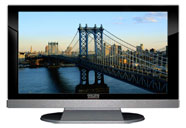 "52"" TV Prop LED HDTV Prop with Bottom Speaker in Gloss Black on Matte Silver-BB Style Series with Manhattan Bridge Screen"