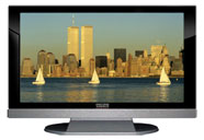 "52"" TV Prop LED HDTV Prop with Bottom Speaker in Gloss Black on Matte Silver-BB Style Series with Sail Boats in New York City Screen"