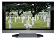 "52"" TV Prop LED HDTV Prop with Bottom Speaker in Gloss Black on Matte Silver-BB Style Series with Fallen Heroes Screen"