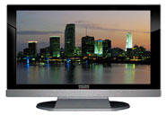 "52"" TV Prop LED HDTV Prop with Bottom Speaker in Gloss Black on Matte Silver-BB Style Series with Miami at Dusk Screen"