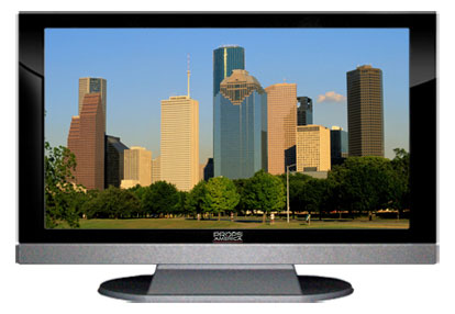 "52"" TV Prop LED HDTV Prop with Bottom Speaker in Gloss Black on Matte Silver-BB Style Series with Houston in the Afternoon Sun Screen"