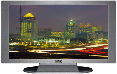 "32"" TV Prop Plasma-LED Flat Screen TV in Matte Silver-XX Style Series with Atlanta at Night Screen"