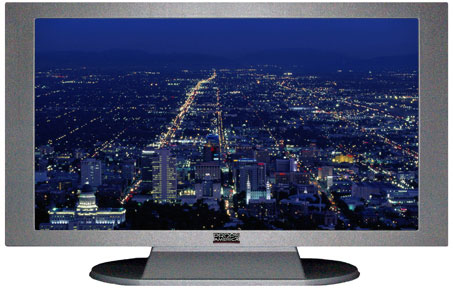 "52"" TV Prop Plasma-LED Flat Screen TV in Matte Silver-XX Style Series with Salt Lake City at Night Screen"