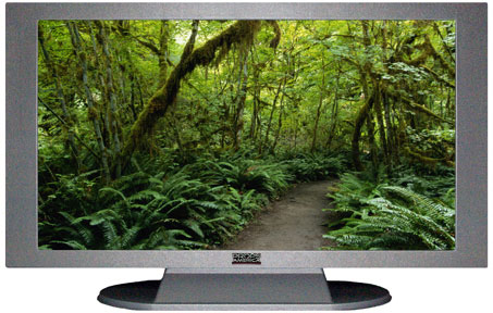"52"" TV Prop Plasma-LED Flat Screen TV in Matte Silver-XX Style Series with Forest Trail Screen"