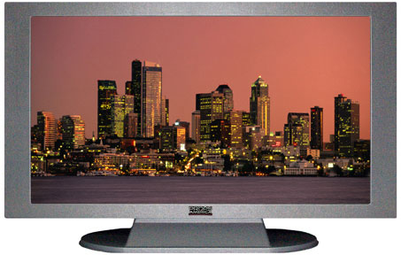 "52"" TV Prop Plasma-LED Flat Screen TV in Matte Silver-XX Style Series with Seattle at Dusk Screen"