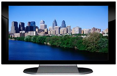 "52"" TV Prop Plasma-LED Flat Screen TV in Gloss Black on Matte Silver-XX Style Series with Philadelphia Screen"