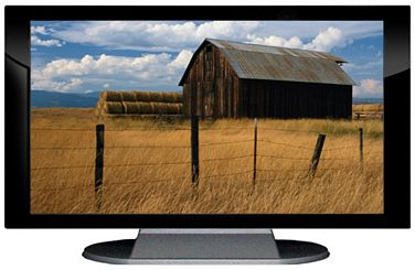 "52"" TV Prop Plasma-LED Flat Screen TV in Gloss Black on Matte Silver-XX Style Series with Barn in Field Screen"
