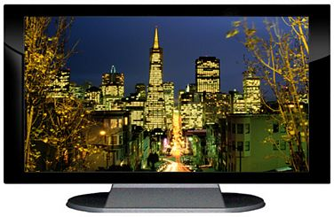 "52"" TV Prop Plasma-LED Flat Screen TV in Gloss Black on Matte Silver-XX Style Series with San Francisco at Night Screen"