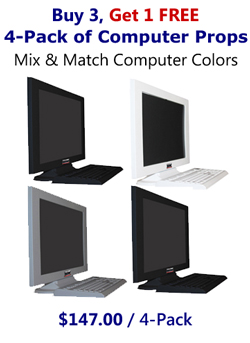 Buy 3 Get 1 FREE - 4 Pack of Fake Computer Prop Monitor & Keyboard Sets in Your Choice of Colors