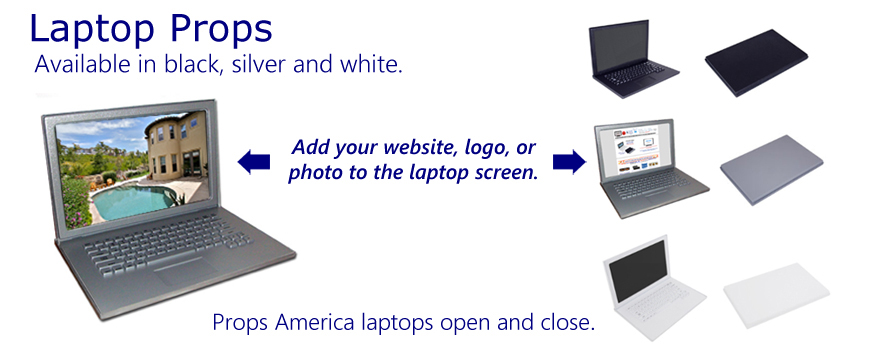 Buy Props America faux laptop computer props here. Fake laptop props are available in black, silver and white.